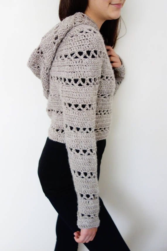 Sweater Crochet PATTERN - Hooded Cropped Sweater/ Chunky Knit Shrug ...