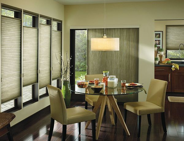 modern living room window treatments | modern dining room window