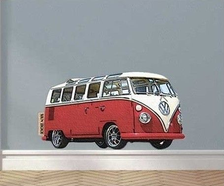 Van Ikke muurstickers Retro VW Bus  rood