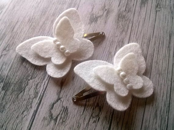 Bianca farfalla capelli clip per ragazze - farfalla feltro capelli clip set - farfalle farfalle rosa, avorio, fermagli per capelli fiore ragazza
