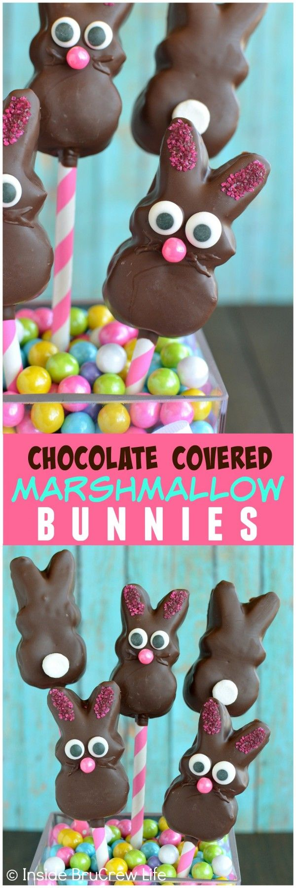 Chocolate Covered Marshmallow Bunnies - these easy no bake bunnies make a fun and edible Easter centerpiece