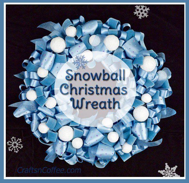 Blue Ribbon & Snowball Christmas Wreath on CraftsnCoffee.com.
