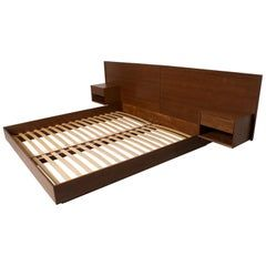 Danish Teak Queen Platform Bed With Built In Floating Nightstands