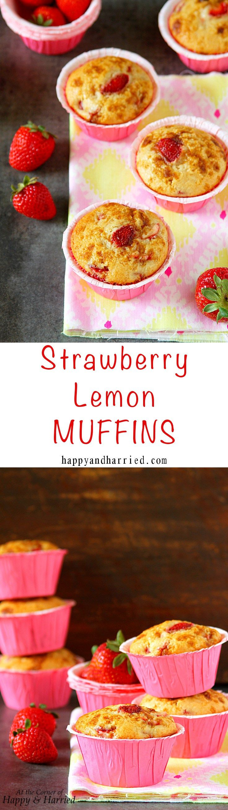 STRAWBERRY LEMON MUFFINS. Loaded with fresh summer strawberries, lemon juice and…