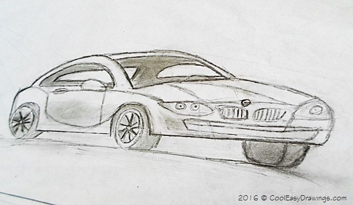 The first car drawing in CoolEasyDrawings.com. A simple car drawing using 6b pencil. A semi-detailed car sketch.