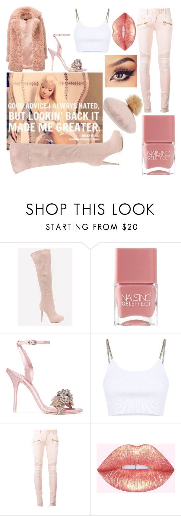 """All Things Pink"" by willaaa15 ❤ liked on Polyvore featuring Nicki Minaj, Bebe, Nails Inc., Sophia Webster, Alexander Wang, Balmain and NYC Underground"