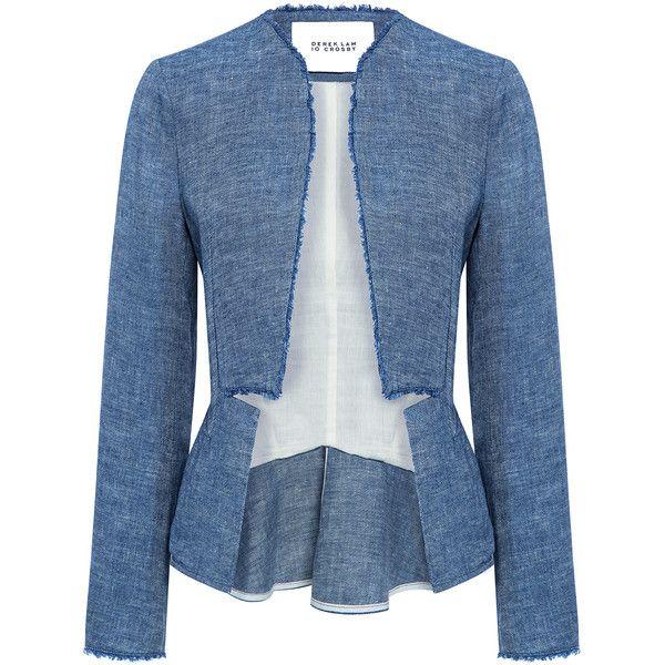 Derek Lam 10 Crosby - Notch peplum blazer found on Polyvore featuring outerwear, jackets, blazers, blue blazer jacket, linen blazer, blue linen jacket, peplum blazer and blazer jacket