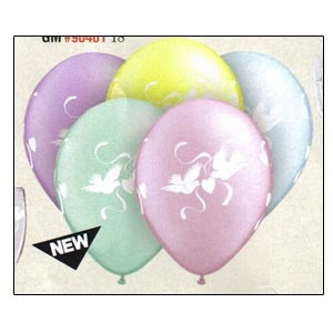 "11"" Latex Balloons ""Love Doves"" (clear or pastel pearl assortment) 10 balloons"