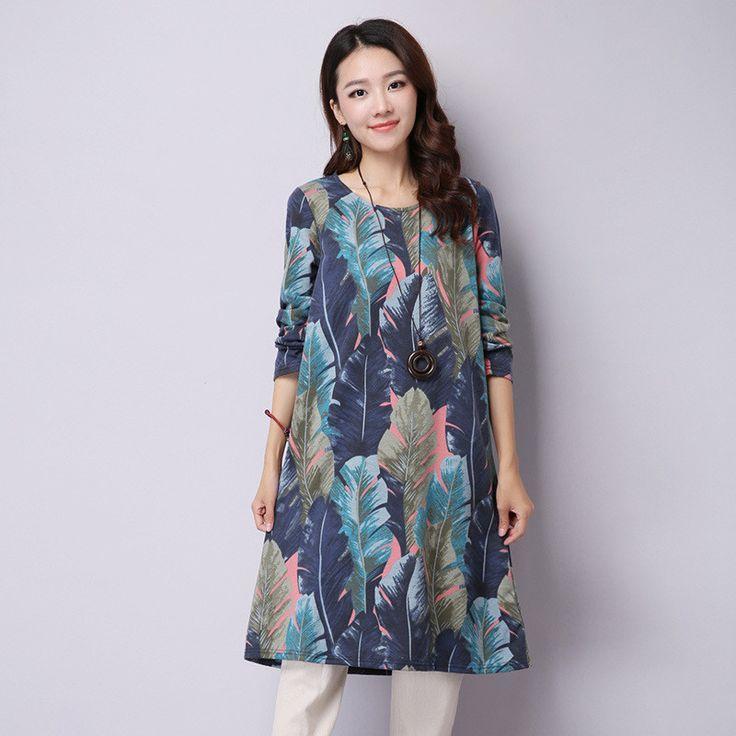 Autumn Women Cotton and Linen Dresses O-neck Long Sleeve Vintage Print Leaves Casual Vestidos Loose Artsy Fresh Female Dresses