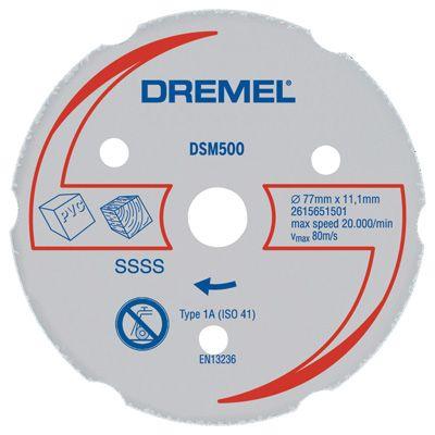 Disco de Corte Para Madeira e Plástico DSM500 - Dremel Disco Multiuso Dremel SM500 (DSM500-RW) - para uso exclusivo na Dremel Saw-Max  Disco com grãos de carbeto de tungstênio para cortes retos precisos em diversos tipos de materiais, tais como madeira macia, madeira dura, MDF, placas e paredes de gesso, pisos laminados, PVC e plásticos.  Profundidade de corte: até 21,5mm  Uso apenas com a Ferramenta Dremel Saw-Max  www.colar.com