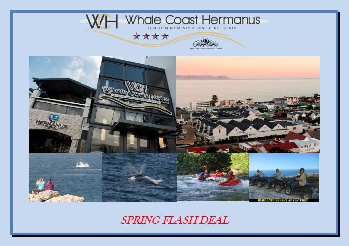 We proudly announce the facebook spring deal to you! We will offer you 25% discount per night per apartment in one of our 2-bedroom apartments  How does it work? 1.Share this deal to your own facebook page 2.Make a direct booking enquiry until the 15th of October via email: reservations@whalecoasthotel.co.za for your stay from 1st of October until 15th of October. 3.Terms and Conditions apply.