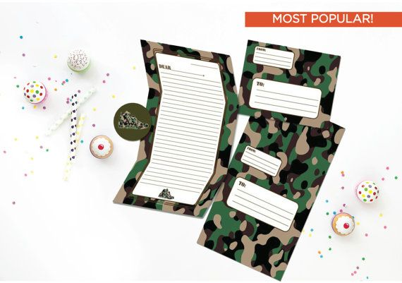 Camouflage Camp Stationery -  Boy's Camp Stationary - Cool Hip Fold and Seal Tween Camp Stationery