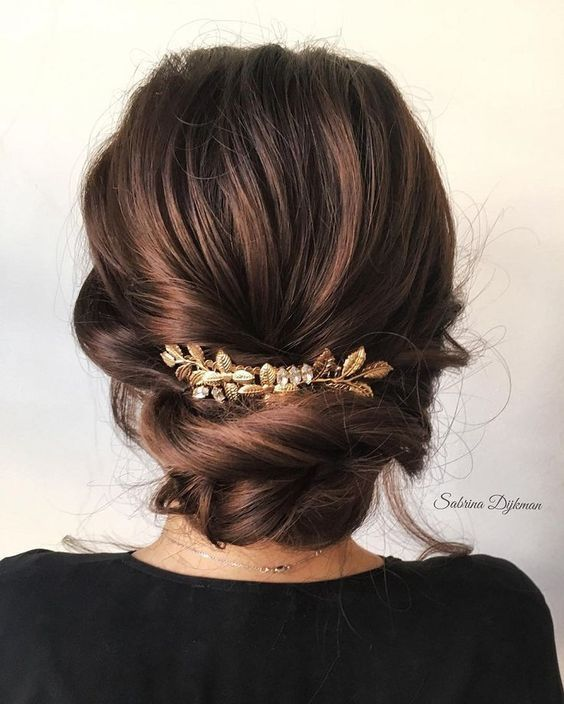 Rope-braid Updo | Golden Leaves Accessory | Loose Waves | Classic Twists #Weddin…