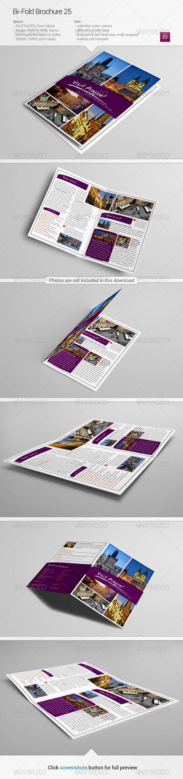 Bi-Fold Brochure 25 #GraphicRiver About this item Description: Tourism and travel bi-fold brochure template. Perfect as a sightseeing guide or travel pamphlet. There are 5 easy things you can do with this brochure: pick your own colors, any colors, upload your own photos, change fonts, easily edit vector elements, prepare this brochure as you wish.   If you have any questions or a problem with any of my files don't hesistate to contact me via my GraphicRiver profile