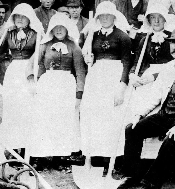 Bal maidens in traditional protective clothing. A bal maiden, from the Cornish language bal, a mine and the English maiden, a young or unmarried woman, was a female manual labourer working in the mining industries of Cornwall and the bordering areas of western Devon, at the south-western extremity of Great Britain.