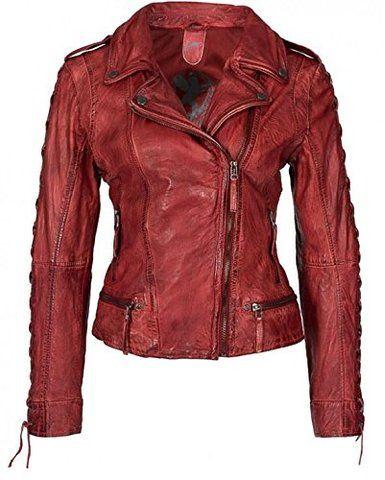 Gipsy Damen Lederjacke Bikerjacke Penny Farbe Rot Gr. S - Gr. XXL (M)