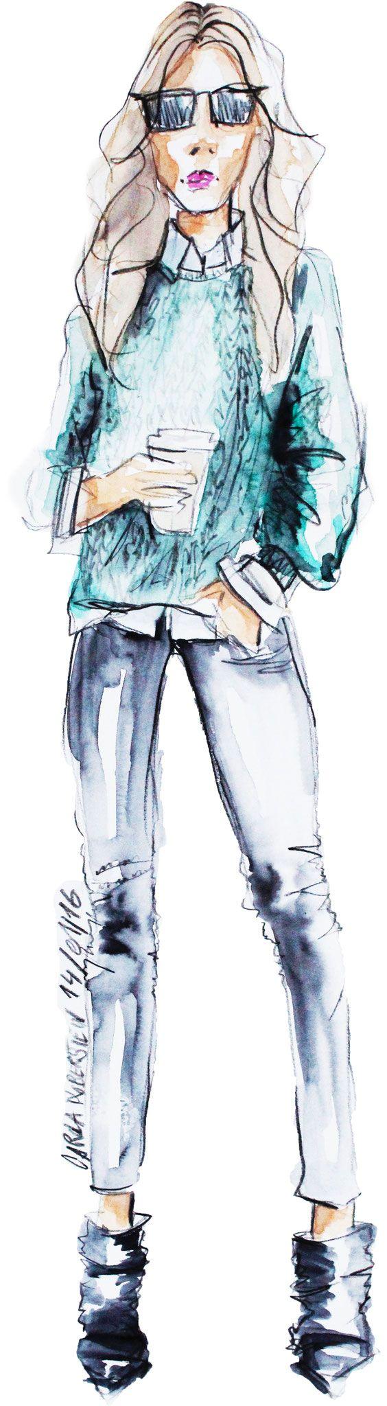 Modeillustration von Carola Koberstein    #modezeichnung #modeillustration #illustration #illustratorin #watercolor #aquarell