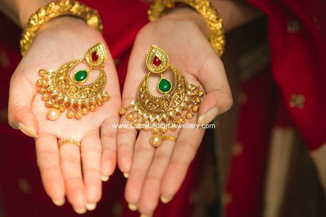 antique gold Chand Bali Earrings