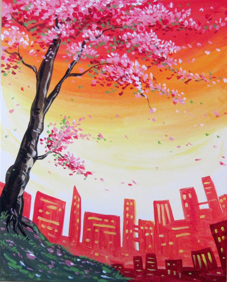 Paint Nite City Blossoms cityscape painting with cherry blossom tree