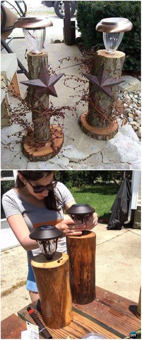 DIY Stump Solar Lights Instructions - Raw Wood Logs and Stumps DIY Ideas Projects #WoodProjectsDiyYards