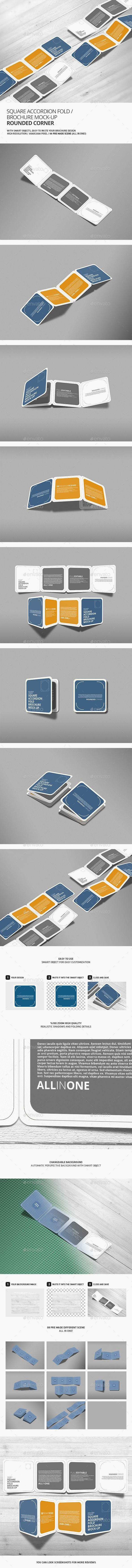 Square Accordion Fold Brochure MockUp - Rounded Corner