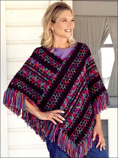 Crochet Accessories - Crochet Poncho Patterns - Embroidery Print Poncho