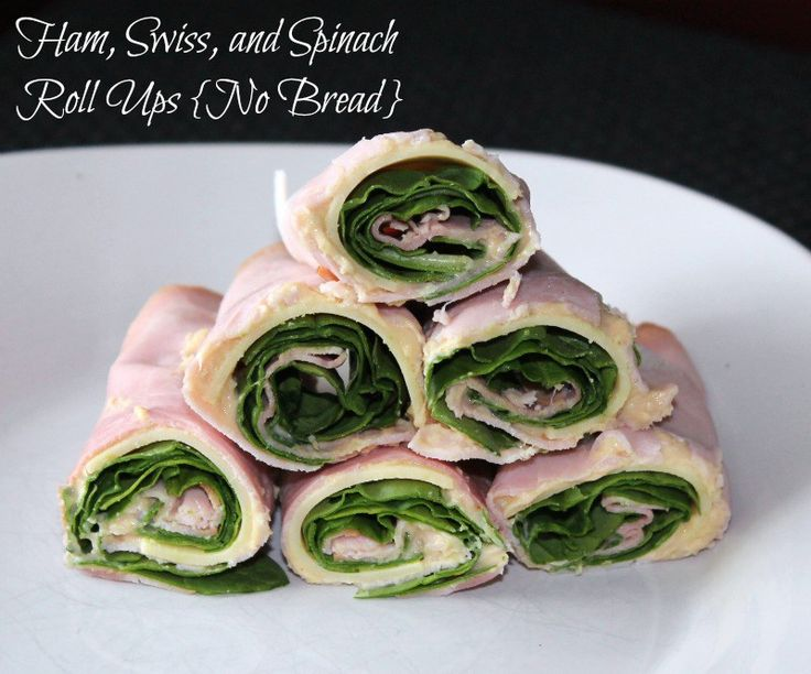 Ham, Swiss, and Spinach Roll Ups {No Bread} 94 calories and 2 weight watchers points plus