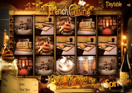 Work your way through this Parisian restaurant styled 3D slot game and dine your way to the top of a mountain of cash! This fun-themed and feel good slot has 5-reels, 3-row 3D video slots and 20 win lines made to satisfy your slot appetite. Make it to desert and you will find yourself in a bonus round of twists and turns, where the rewards are huge!