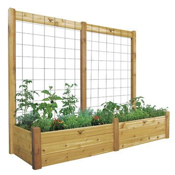 """Features:  -Made of wood.  -Outdoor use.  - Includes the garden bed and the trellis kit.  -Made in the USA.  Material: -Wood.  Country of Manufacture: -United States. Size 95"""" H x 48"""" W x 48"""" D -  Sha"""