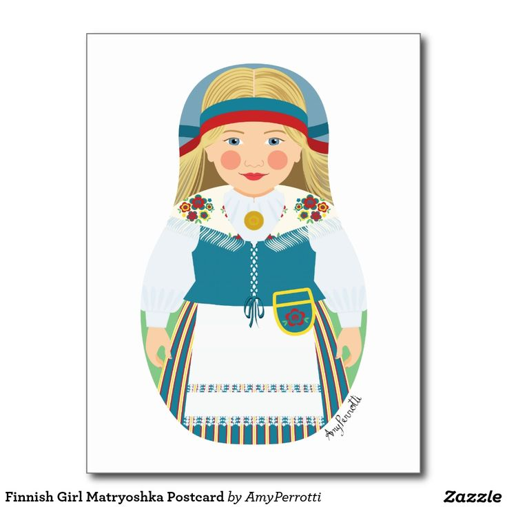 Finnish Girl Matryoshka Postcard