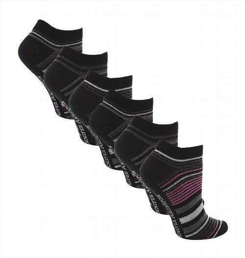 7.37$  Buy here - http://viseo.justgood.pw/vig/item.php?t=sb3vrc39279 - 6 Pairs Ladies Soft Cotton Pink/Black Stripe Trainer Socks Size 4-8 Uk (AT23) 7.37$