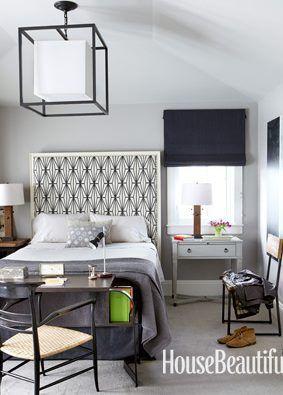 ModernBeds, Romans Shades, Masculine Bedrooms, Roman Shades, Kelly Wearstler, Bedrooms Headboards, Guest Rooms, Boys Room, Design
