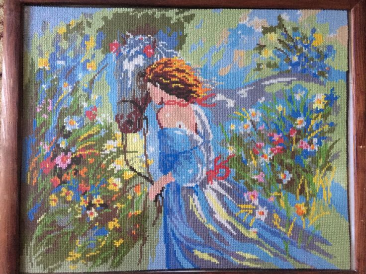"""Completed cross stitch, Home decoration, Framed cross stitch, Handmade embroidery -""""Girl with horse"""".Free shipping by NattikStudio on Etsy"""