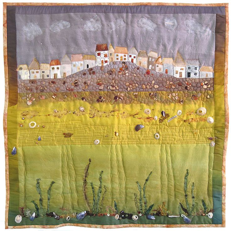 SEASIDE ART QUILT - St. Ives Cornwall quirky cottages houses beach sea seaweed shells beads - hand dyed silk embroidery beading applique