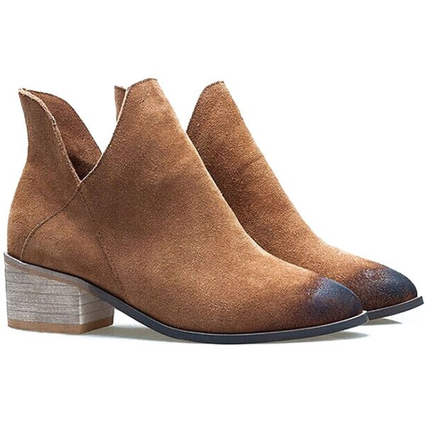 Romwe Brown V Cut Brush Pointed Toe Boots ($37) ❤ liked on Polyvore featuring shoes, boots, ankle booties, brown, brown ankle booties, short boots, pointed toe boots, mid heel booties and short booties