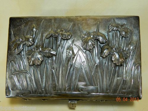 "Meiji Japanese Samurai Shokai Silver Wood Lined Box Iris c 1900 10""x 6""x 4"""