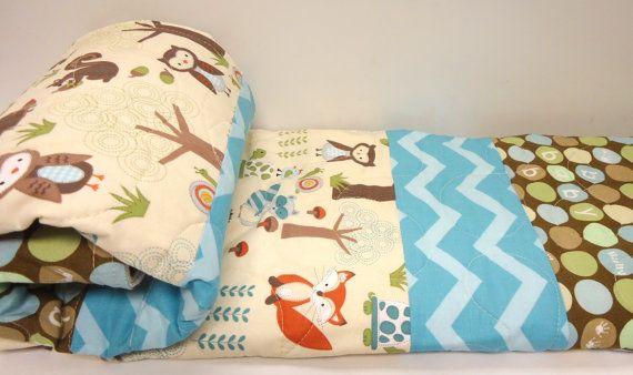 Baby Quilt-Baby Boy-Modern-Woodland-Animals-Chevron-Aqua-Blue-Brown-Owl-Fox-Anim