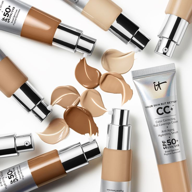 CC+ Cream with SPF 50+ | Clinically shown to give you 179% of skin hydration, smooth skin texture and enhance skin brightness, this breakthrough color-correcting cream never creases or cracks and instantly camouflages skin imperfections including dark spots. Plus, it's infused with an advanced anti-aging serum made of hydrolyzed collagen, peptides, niacin, hyaluronic acid, antioxidants and vitamins A, B, C and E that work in harmony to diffuse the look of wrinkles, minimize pores