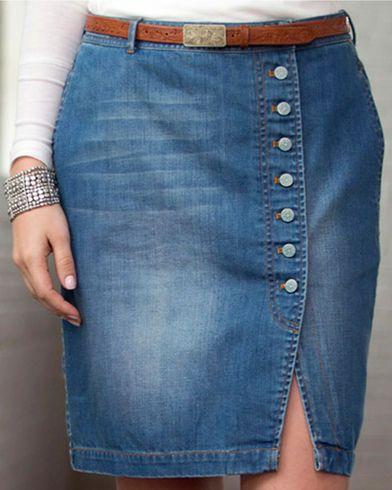 Ryan Michael Women's Button-Front Denim Skirt, Indigo