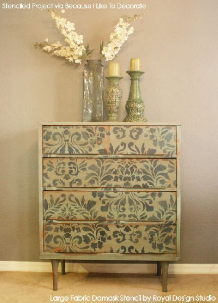 Large Fabric Damask Stencil and Chalk Paint® decorative paint used to refinish a dresser   Royal Design Studio