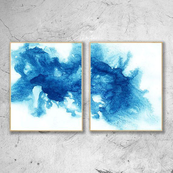 Modern Blue Watercolor Print Set Of 2 Abstract Watercolour