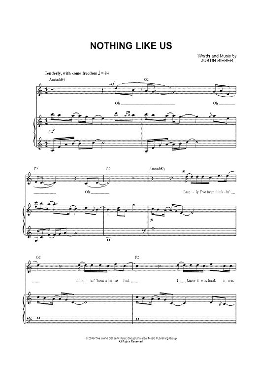 Nothing Like Us Sheet Music: www.onlinesheetmusic.com