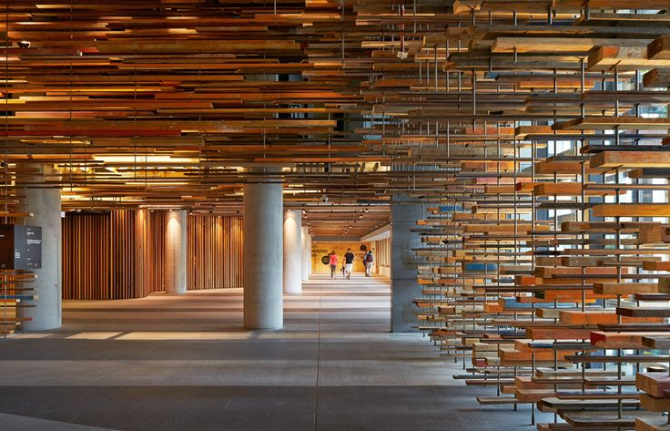 The lobby of the award-winning hotel comprises over 5,000 wooden offcuts fixed around the walls and ceiling.