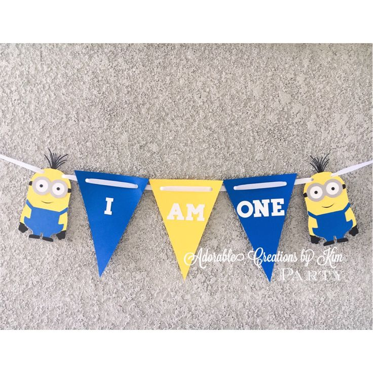 Minion banner minion birthday banner despicable me banner despicable me birthday high chair banner i am one banner first birthday banner by AdorableCBK on Etsy https://www.etsy.com/listing/527450907/minion-banner-minion-birthday-banner