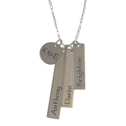 Custom Family Necklace, 3 Children: Parents initials with a heart and children's names.