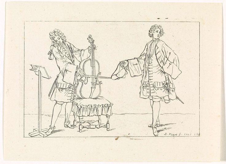 Bernard Picart | Manier waarop heren muziek maken, Bernard Picart, Lodewijk XIV (koning van Frankrijk), 1704 | Twee Franse edelmannen in eigentijdse kleding. Eén van hen bespeelt de cello, die hij steunt op een taboeret, en kijkt naar de bladmuziek op zijn standaard. De ander heeft een hoed in de hand.