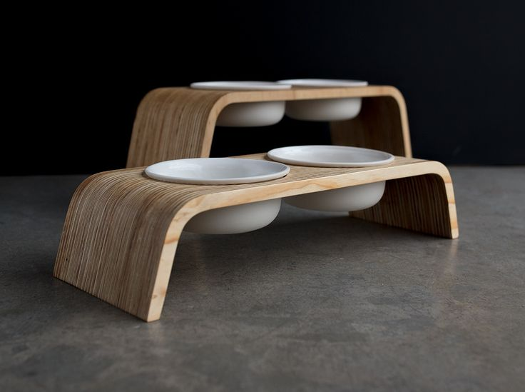 Modern Dog Feeder | Pine Stand | Porcelain Bowls | Comes in two sizes