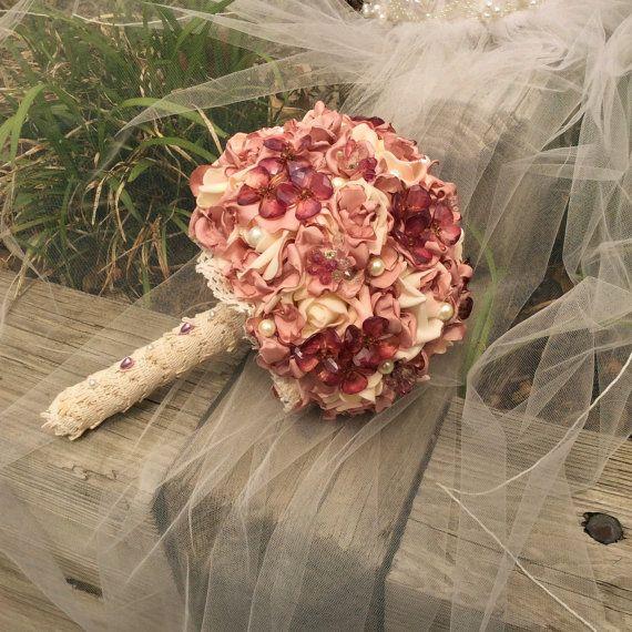 Nuziale nozze fiori-Boho Wedding Flower Bouquet-sposa fiori Bouquet polveroso tessuto rosa & Avorio-sposa e matrimonio-alternativa