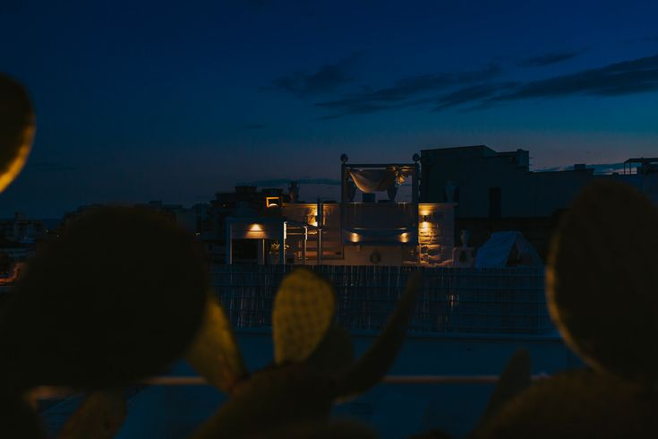 The lovely roof top of the suite at Don Ferrante, Monopoli, Italy. Photo by Benjamin Stuart Photography #weddingphotography #destinationwedding #italianwedding #donferrante #monopoli #italy #nightime