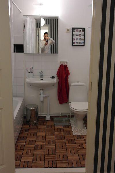 trall,trägolv,trall i badrum,billig renovering,badrum